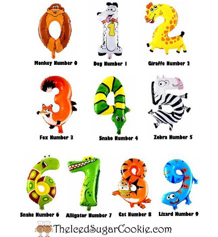 Balloon Animals Numbers at The Iced Sugar Cookie- Birthday Party Supplies