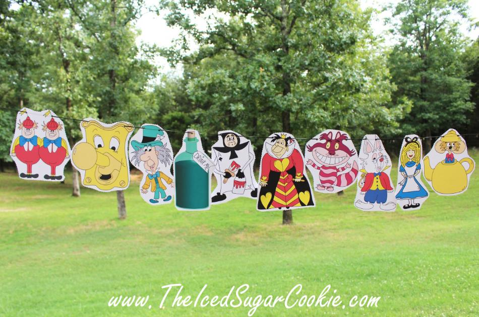 Alice In Wonderland Birthday Party Free Printable Flag Hanging Banner for DIY Alice In Wonderland Birthday Party by The Iced Sugar Cookie