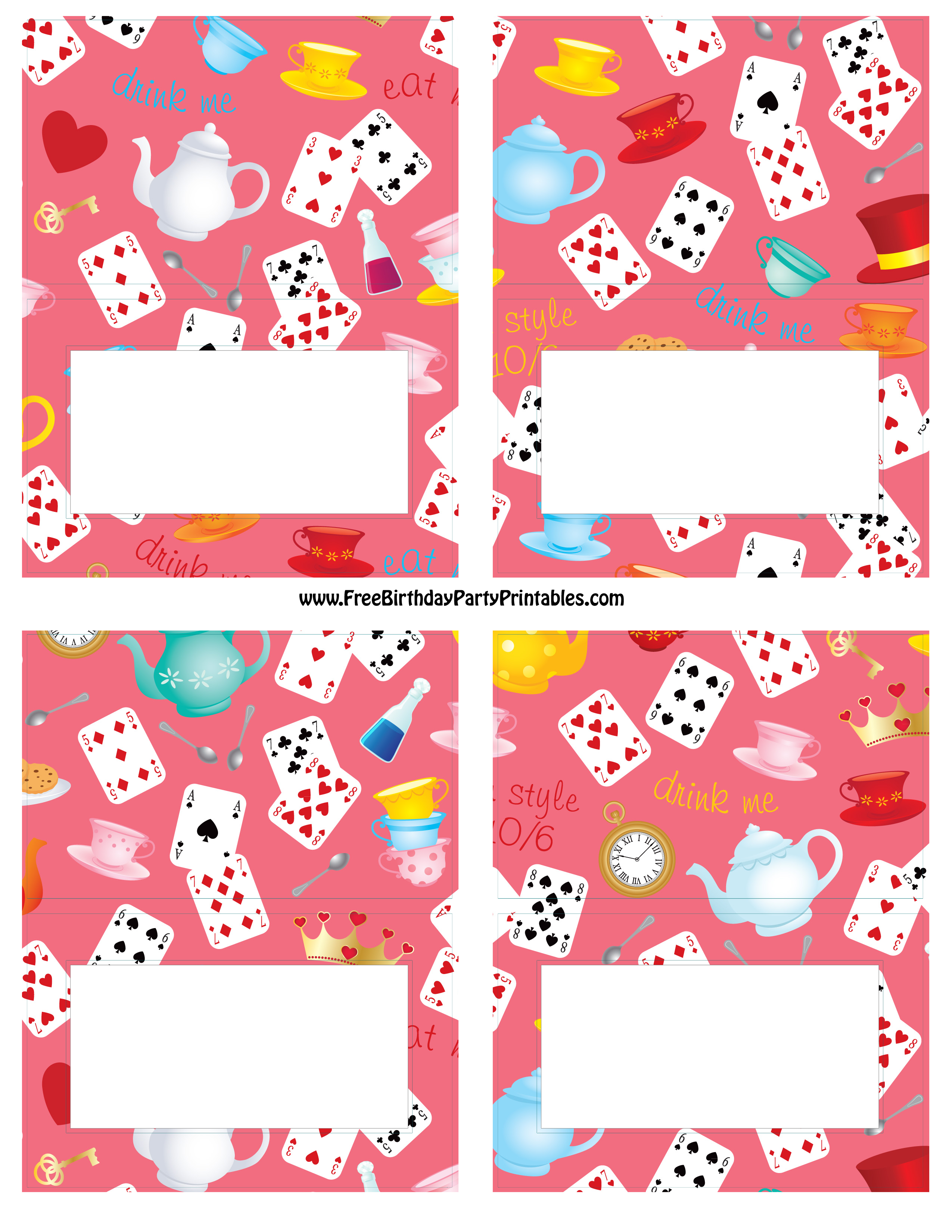 Alice In Wonderland Birthday Party Food Cards – Alice in Wonderland Birthday Cards