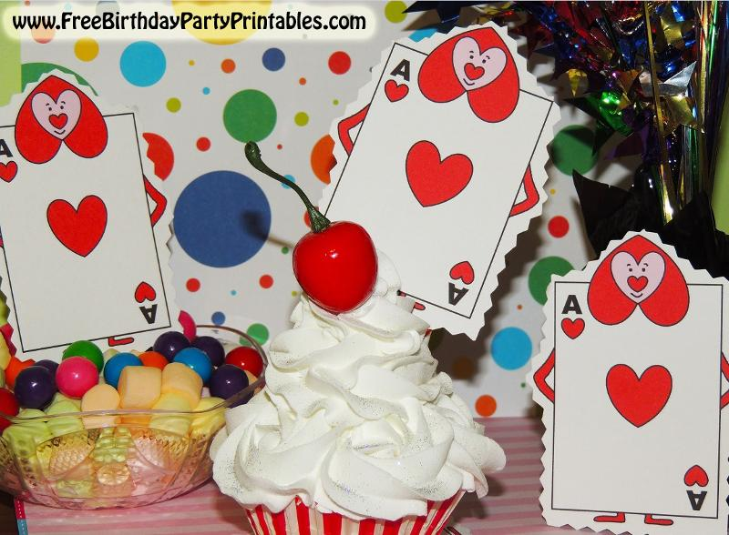 Alice In Wonderland Birthday Party The Queen Of Hearts Card Soldiers Free Printable Template Cupcake Toppers Or Banners.