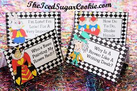Printable Alice In Wonderland Birthday Party Printables Food Label Tent Cards Cutout Tempate Mad Hatter: Why Is A Raven Like A Writing Desk? Red Queen: Who's Been Painting My Roses Red? White Rabbit: I'm Late I'm Late For A Very Important Date! Tweedledee Tweedledum: How Do You Do Shake Hands by The Iced Sugar Cookie