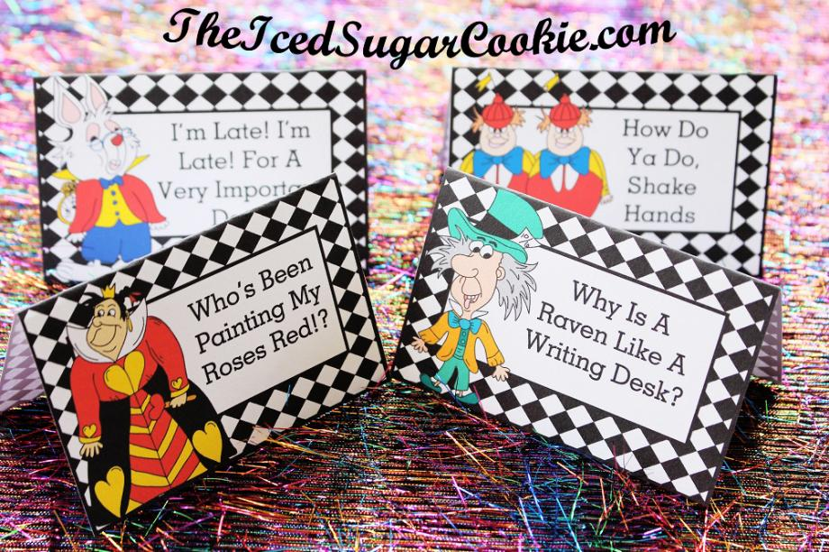 Alice In Wonderland Birthday Party Food Label Tent Cards DIY Cutouts Template Printable Mad Hatter White Rabbit Red Queen Tweedledee Tweedledum Digital Download Cartoon Illustrations Drawings- DIY Alice In Wonderland Birthday Party Ideas- How Do You Do Shake Hands, I'm Late! I'm Late! For A Very Important Date! Who's Been Painting My Roses Red!? Why Is A Raven Like A Writing Desk? by The Iced Sugar Cookie