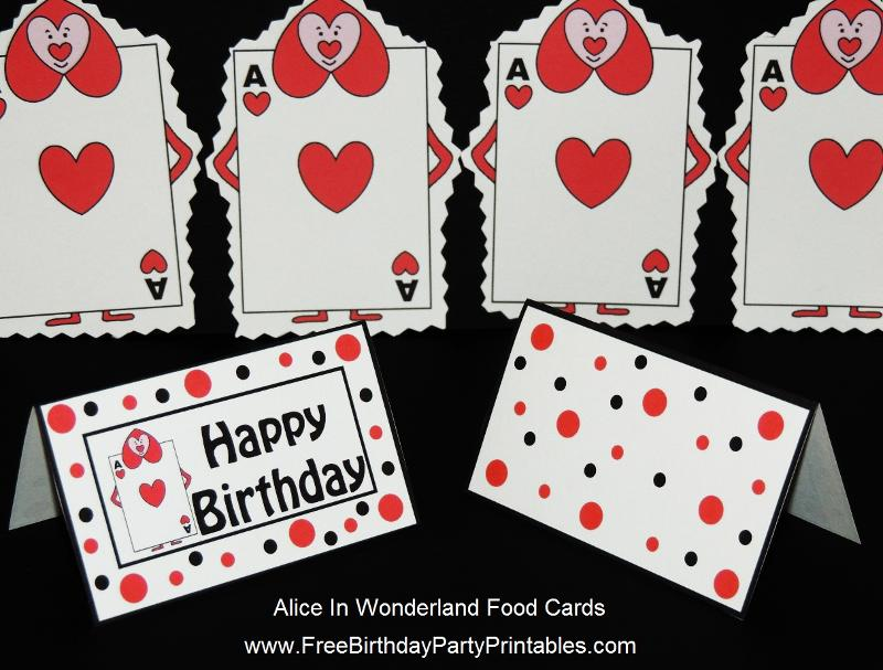Alice In Wonderland Queen Of Hearts Card Soldier Food Label Tent Cards and Cupcake Toppers by Free Birthday Party Printables