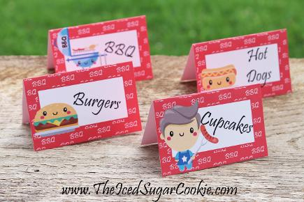 Free BBQ Birthday Party Printables by The Iced Sugar Cookie- Food Tent Cards, Cupcake Toppers, Burgers, Cupcakes, Hot Dogs