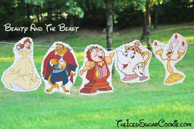 Beauty And Beast Birthday Party Banner DIY Ideas- Belle, Beast, Lumiere Candlestick, Cogsworth Clock, Mrs Potts and Chip Birthday Party Banner DIY Ideas