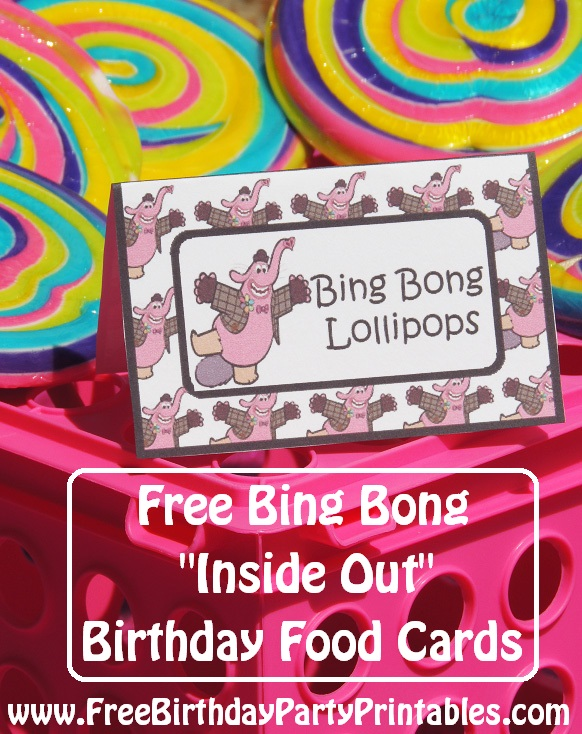 Free Bing Bong Inside Out Birthday Party Food Cards by Free Birthday Party Printables