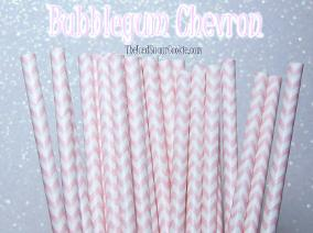 Bubblegum Chevron Straws Birthday Party Baby Shower