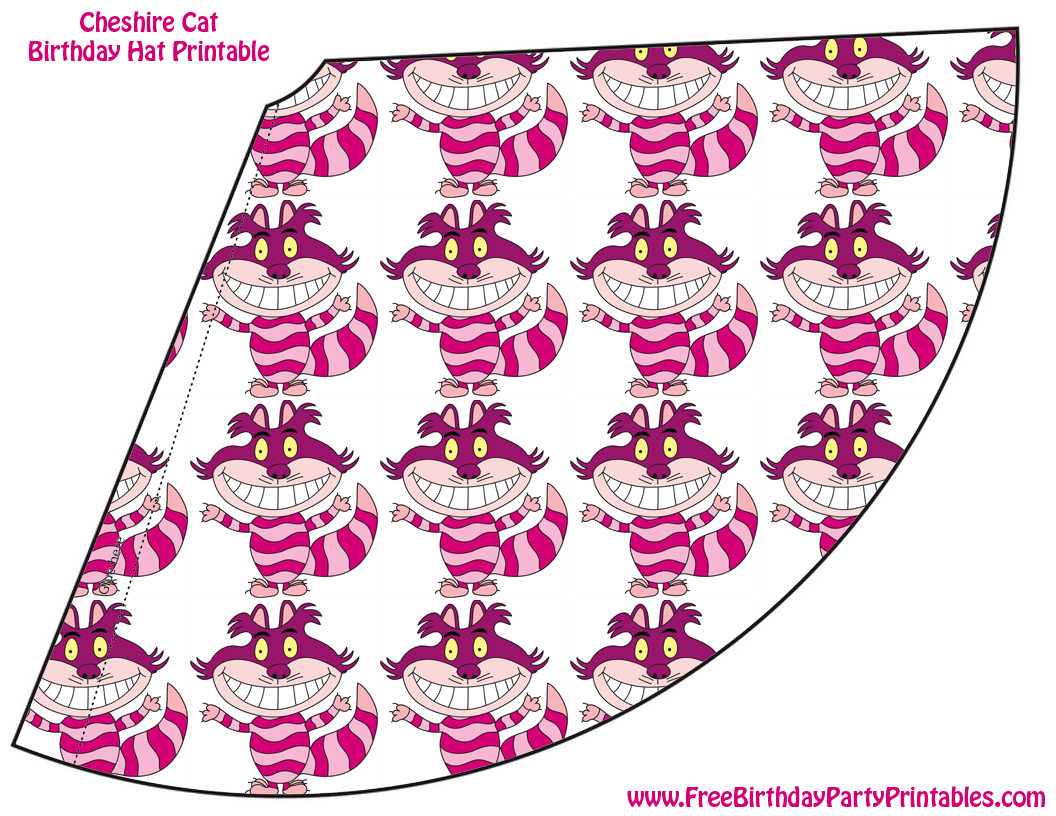 Free Cheshire Cat Birthday Party Printables Hat