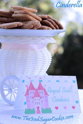 DIY Cinderella Birthday Party Printables-Food Label Tent Cards Cutout Template-Royal Ball Cookies with a Princess Pink Castle Food Cards- Princess Birthday Party Cinderella Party Food Ideas by The Iced Sugar Cookie