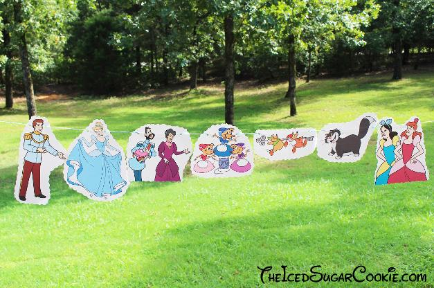 DIY Cinderella Birthday Party Banner diy ideas-Disney Characters Prince Charming, Stepmother Lady Tremaine, Drizella, Anastasia, The Grand Duke, Gus, Jaq, Mary, Suzy, Perla, Lucifer Cat