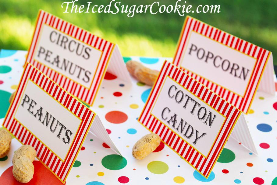 DIY Printable Circus Food Label Tent Cards Templates Digital Download by The Iced Sugar Cookie- Peanuts, Cotton Candy, Hot Dogs, Popcorn, Candy Apples, Circus Tickets, etc