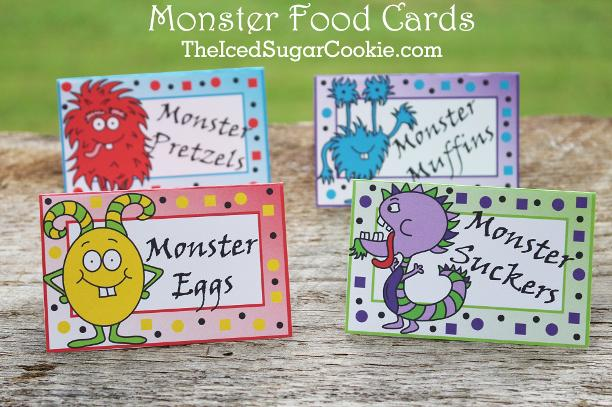 Monster Birthday Party Food Label Tent Cards-Monster Eggs, Monster Suckers, Monster Muffins, Monster Pretzels Cutout Template