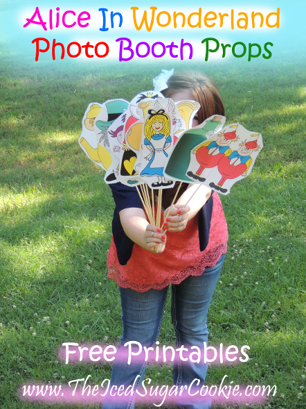 Free Alice In Wonderland Photo Booth Props Free Printables at The Iced Sugar Cookie