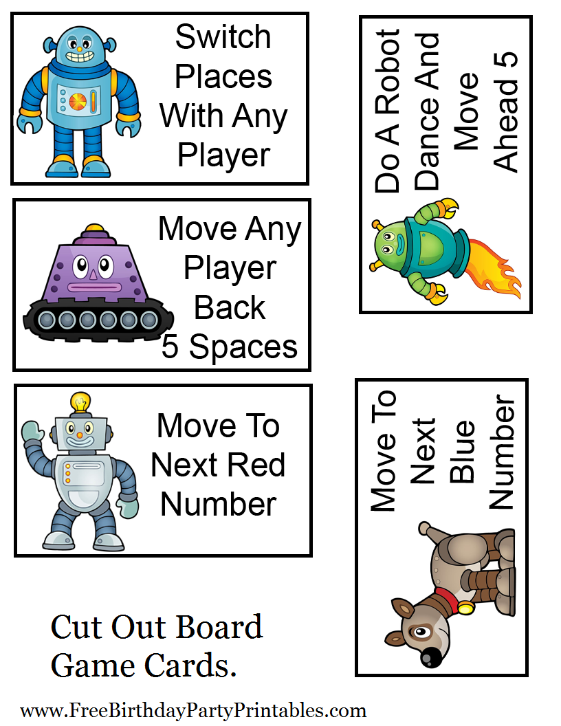 graphic regarding Game Pieces Printable titled Totally free Robotic Birthday Get together Printables