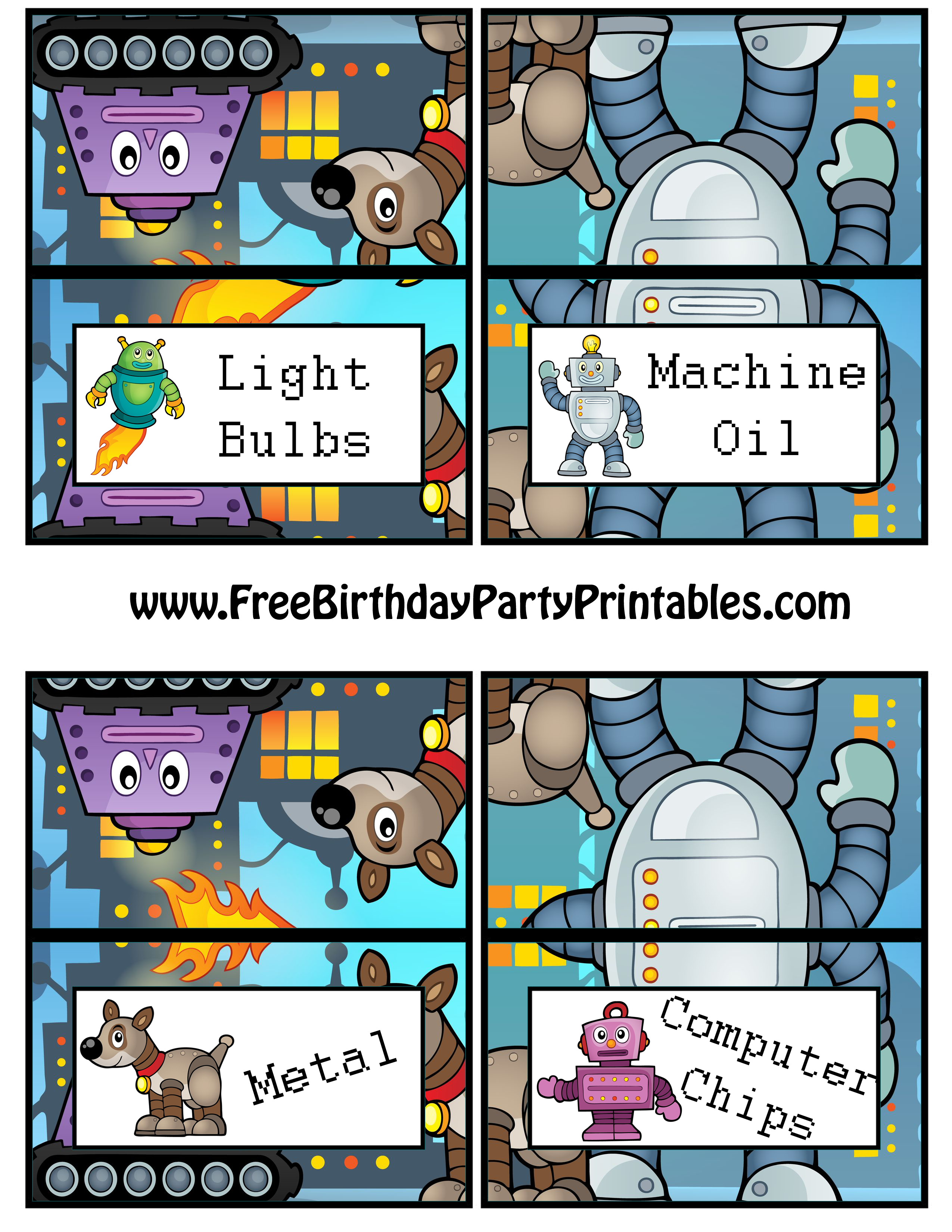 robot birthday party printables