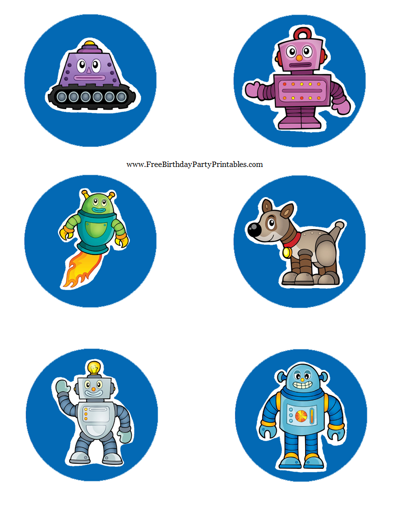 Free robot birthday party printables mason jar lid toppers pronofoot35fo Image collections
