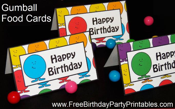 Gumball Birthday Party Food Card Tent Label Printables by Free Birthday Party Printables