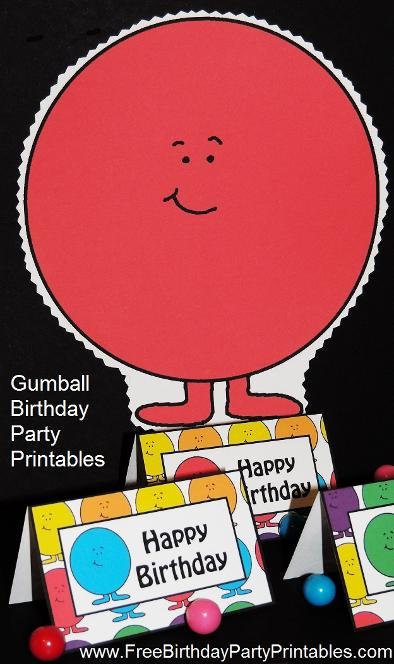Gumball Birthday Party Food Card Tent Label Printables And Door Banner or Prop by Free Birthday Party Printables