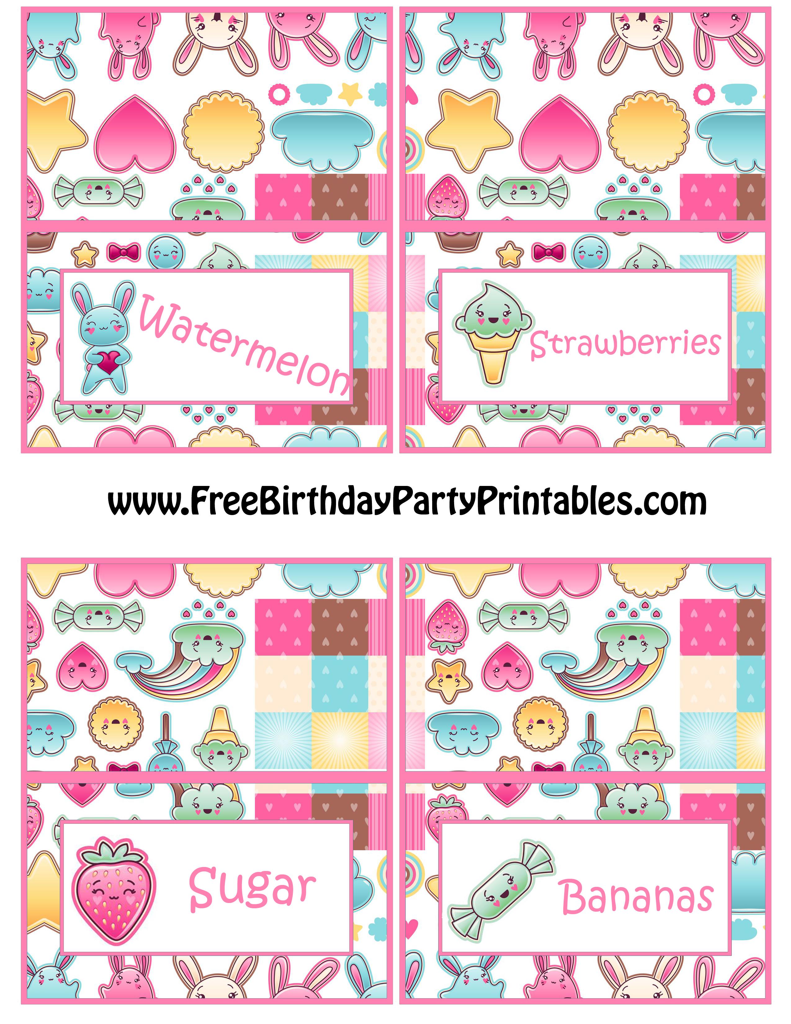 Kawaii Birthday Party Food Card Printables