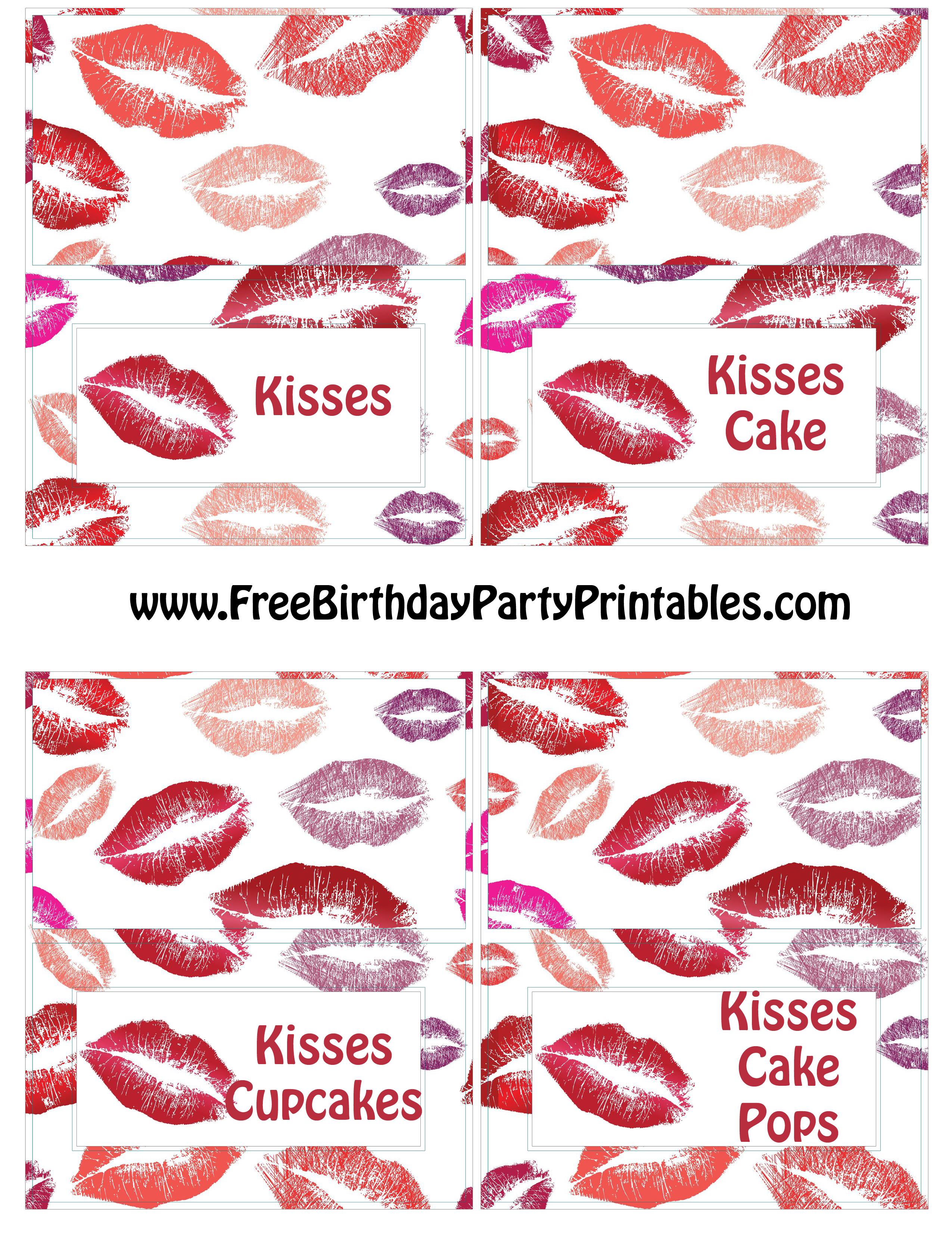 Free Lipstick Kiss Birthday Party Printables Food Cards  Kisses, Kisses  Cake, Kisses Cupcakes, Kisses Cake Pops  Free Birthday Card Printable Templates