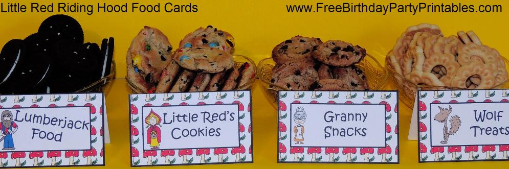 Little Red Riding Hood Free Birthday Party Printables- Little Red's Cookies, Wolf Treats, Granny Snacks, Lumberjack Food
