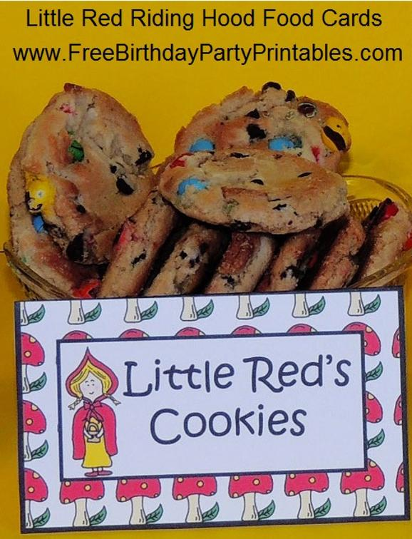 Little Red Riding Hood Free Birthday Party Printables- Little Red's Cookies- Wolf, Granny, Lumberjack, Mushroom