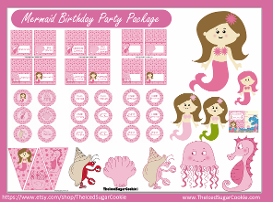 Pink Mermaid Birthday Party Package Kit- DIY Pink Mermaid Clipart Printable Digital Downloads-Seahorse, jellyfish, crab, food cards, invitations, cupcake toppers,