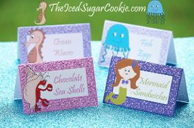 Mermaid Under The Sea Food Tent Cards Printables Birthday Party