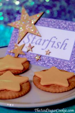 Mermaid Starfish Under The Sea Birthday Party Baby Shower Cheese Stars On Ritz Crackers Purple Starfish Food Label Tent Card With Wooden Stars hot glued with painted on glitter