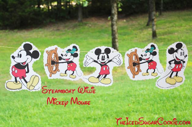Steamboat Willie Mickey Mouse Birthday Party Banner DIY Ideas