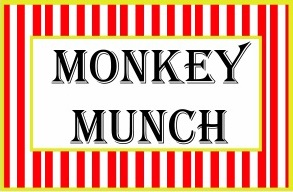 DIY Circus Birthday Party Printables Food Label Tent Cards Cutout Template Monkey munch elephant acrobat circus clown cupcake snack ideas big top circus printables by The Iced Sugar Cookie