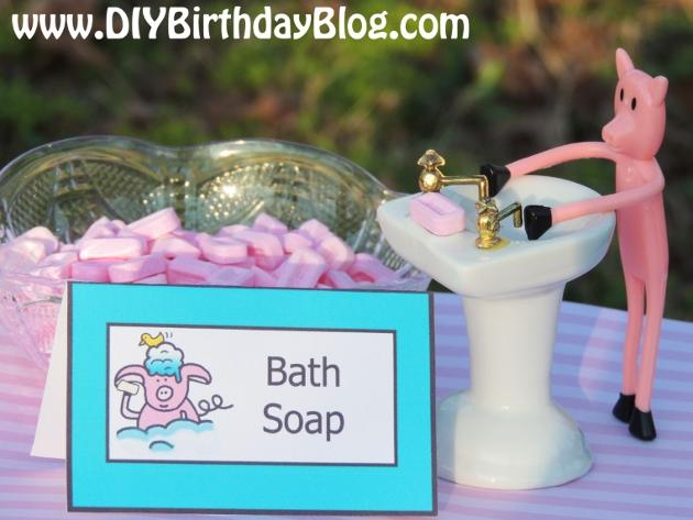 Piggy Bubble Bath Birthday Party- Free Birthday Party Printables- DIY Birthday Blog- Bath Soap Pez Candies Piggy At The Sink