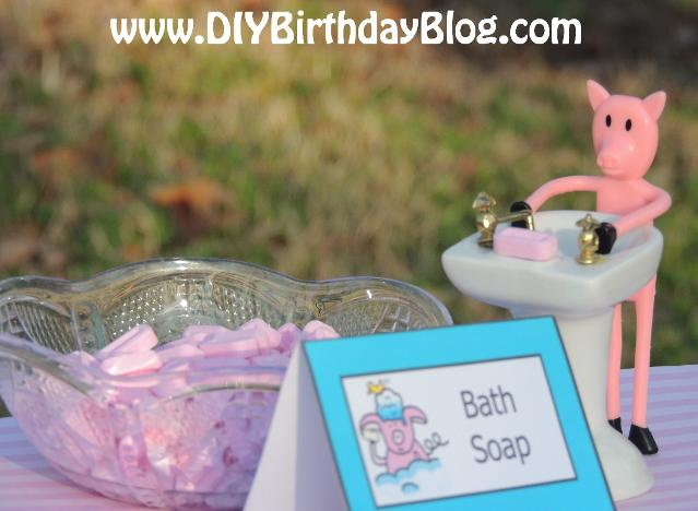 Piggy Bubble Bath Birthday Party- Free Birthday Party Printables- DIY Birthday Blog- Piggy at Sink With Bath Soap Pez Candies