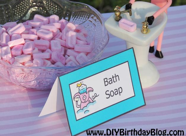 Piggy Bubble Bath Birthday Party - Free Birthday Party Printables- DIY Birthday Blog- Piggy Washing Hands With Bath Soap Pez Candy