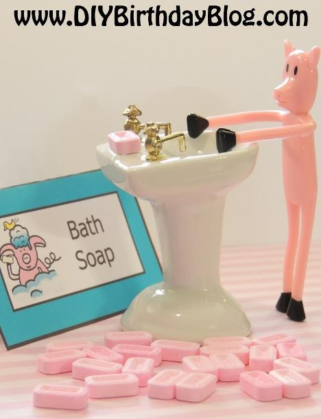 Piggy Bubble Bath Birthday Party- Free Birthday Party Printables- DIY Birthday Blog- Piggy Washing Hands With Bath Soap
