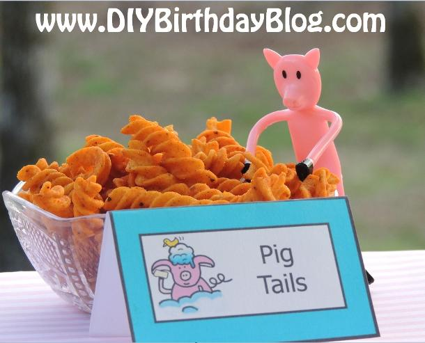 Piggy Bubble Bath Birthday Party- Free Birthday Party Printables- DIY Birthday Blog- Pig Tails