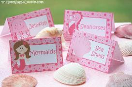 Pink Mermaid Under The Sea Birthday Party DIY Printables Digital Download- Seashells, Seahorse, Jellyfish,