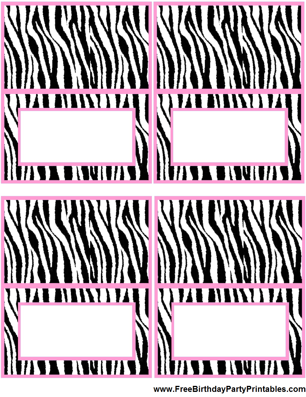 free light pink zebra birthday party printables