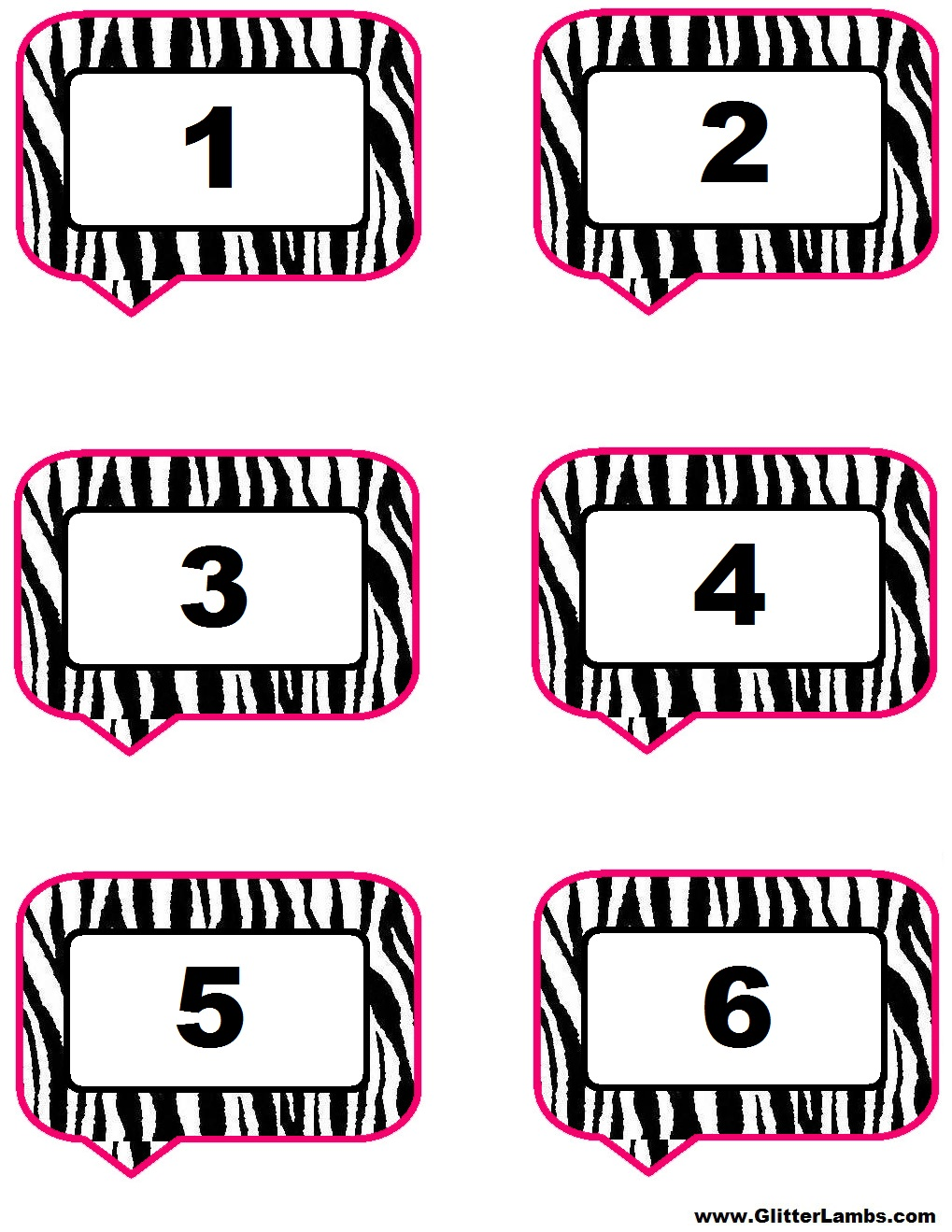 Free Pink Zebra Birthday Party Food Cards Printables