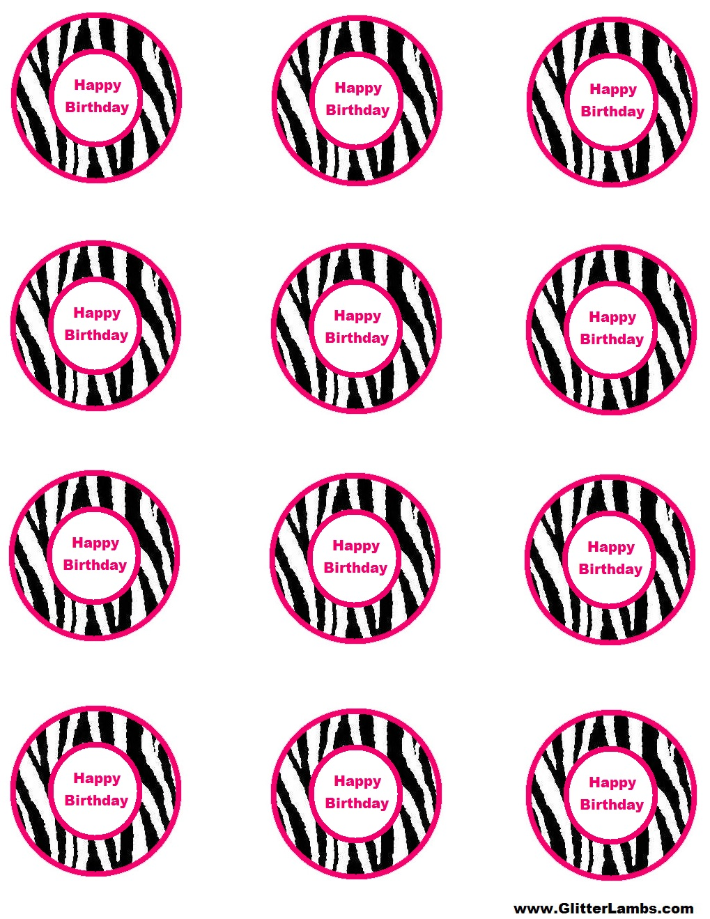 Free Pink Zebra Birthday Party Food Cards Printables Cupcake Toppers