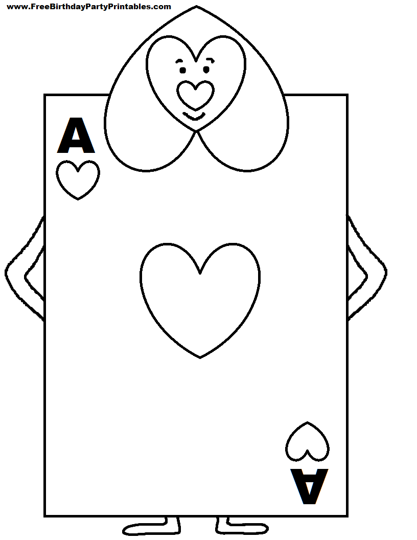 Free playing cards coloring pages for Playing cards coloring pages