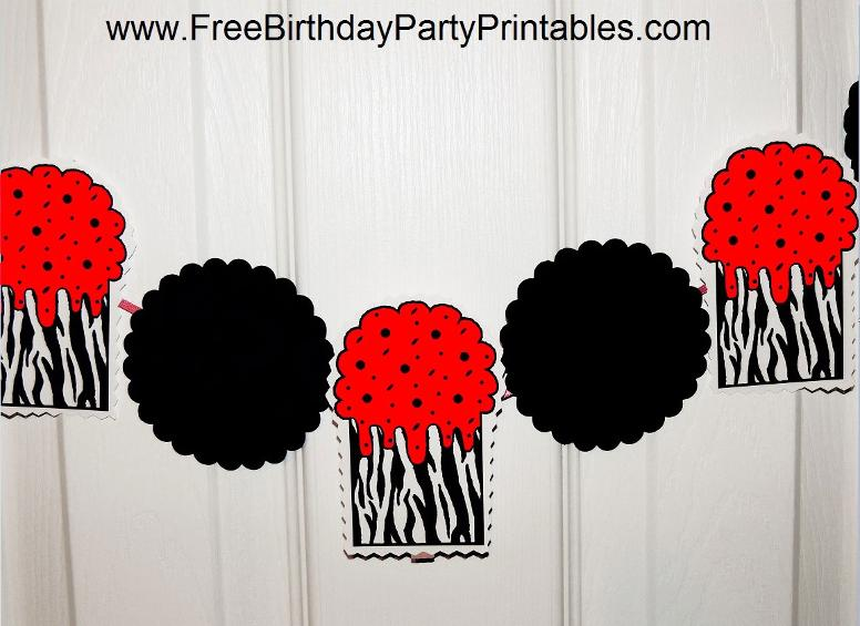 Red Zebra Birthday Party Printables-Banner- By Free Birthday Party Printables