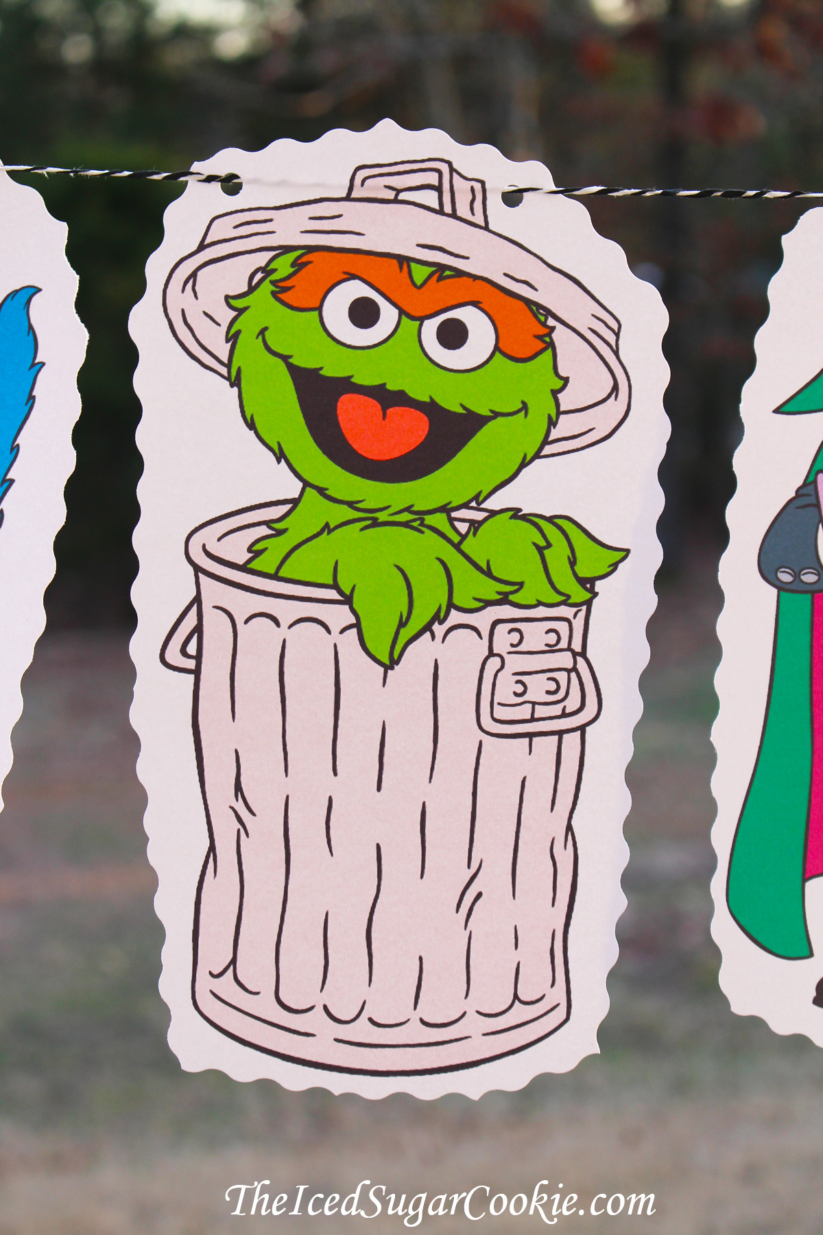 DIY Birthday Party Banners-Oscar The Grouch-Sesame Street Flag Bunting Banner Garland