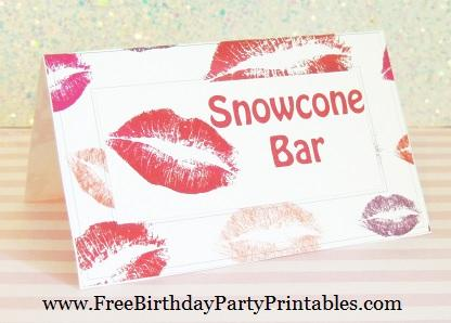 Free Lipstick Kiss Birthday Party Printables- Snowcone Bar Food Cards