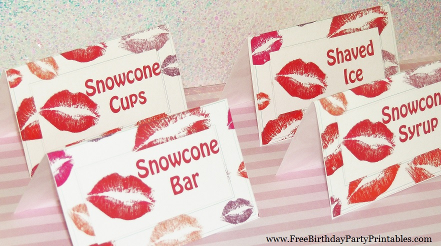 Free Lipstick Kiss Birthday Party Printables