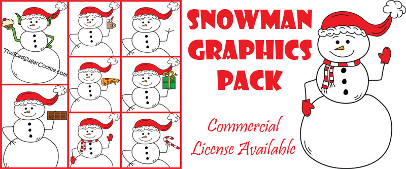 Snowman Graphics Pack Christmas Clip Art Commercial Use by TheIcedSugarCookie.com