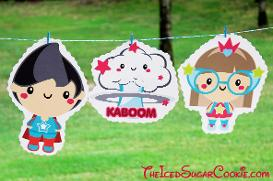 Superhero Birthday Party DIY Banner Ideas- Kaboom, Super Hero Girl, Super Hero Boy Birthday Party Banner DIY Ideas