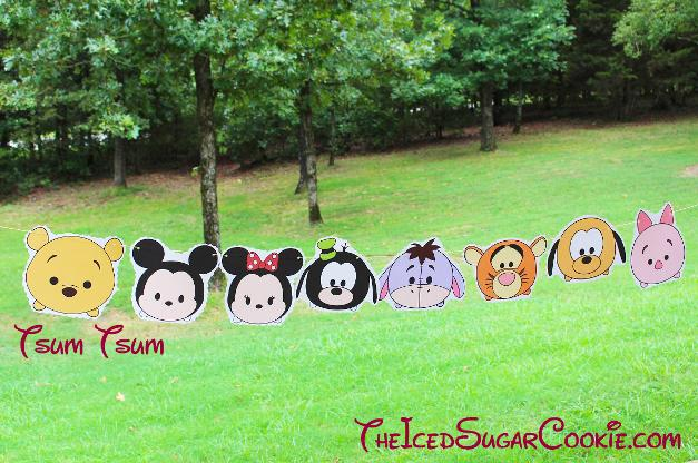 Tsum Tsum Birthday Party Banner DIY Ideas- Pooh Bear, Mickey Mouse, Minnie Mouse, Pluto, Eeyore, Tiger, Goofy, Piglet