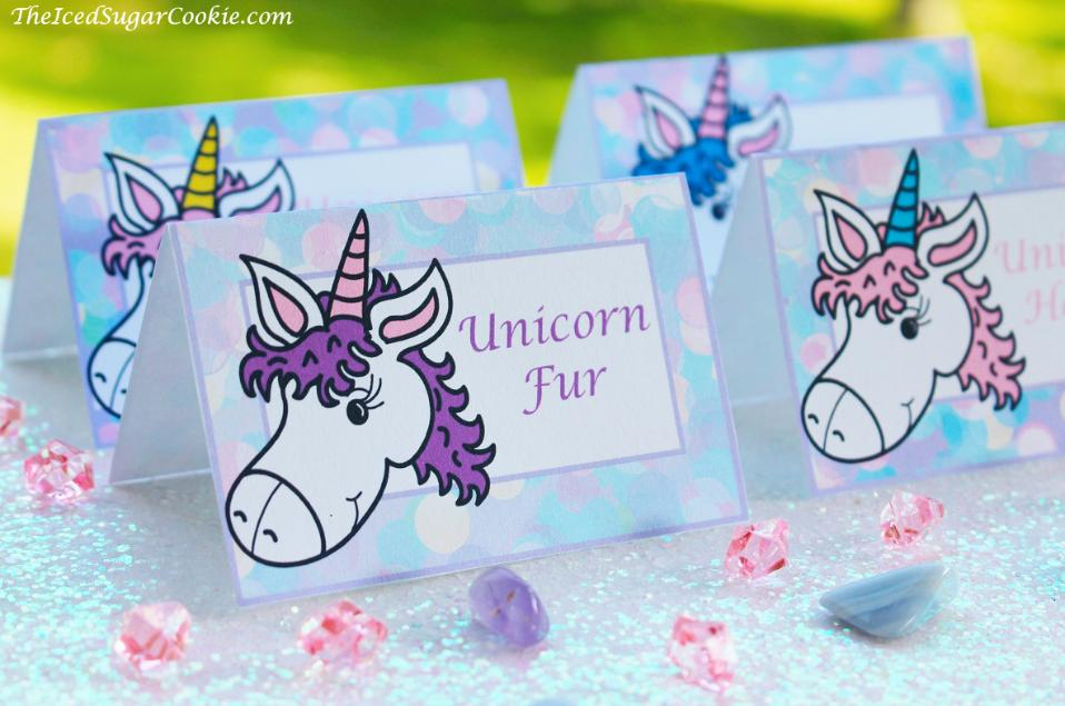 Unicorn Food Label Tent Cards for Unicorn Birthday Party-Unicorn Fur, Unicorn Cookies, Unicorn Punch, Unicorn Horns