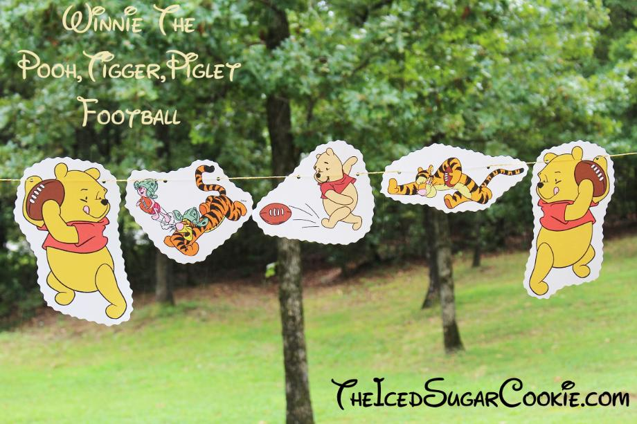 Winnie The Pooh, Tigger, Piglet Playing Football Birthday Party Banner DIY Ideas